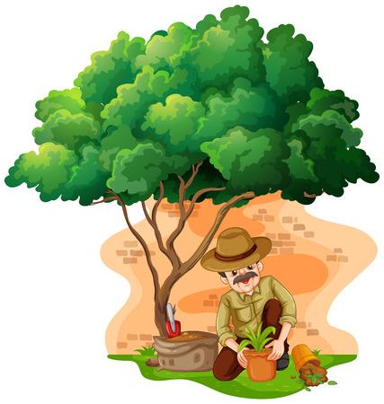 El hombre que planta el árbol en la ilustración jardín