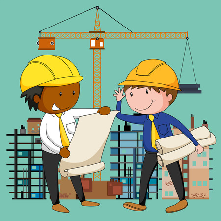 Engineers working at the construction site illustration