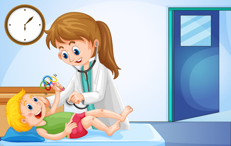 baby illustration: Doctor checking up little boy illustration