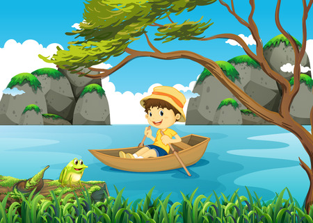 rowing boat: Boy rowing boat alone in the lake illustration