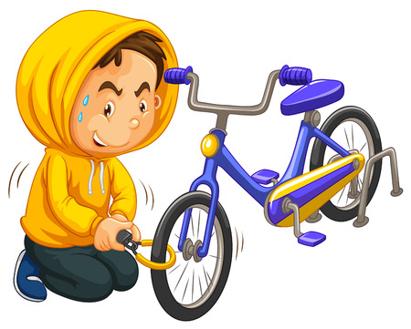 stealing: Boy in yellow hood stealing bicycle illustration