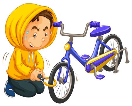 niños malos: El muchacho en amarillo campana robar ejemplo de la bicicleta