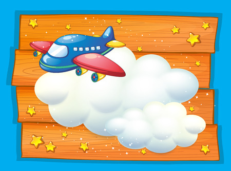 space cartoon: Frame design with airplane flying illustration Illustration