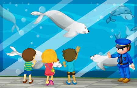 art museum: Children looking at fish at the aquarium illustration