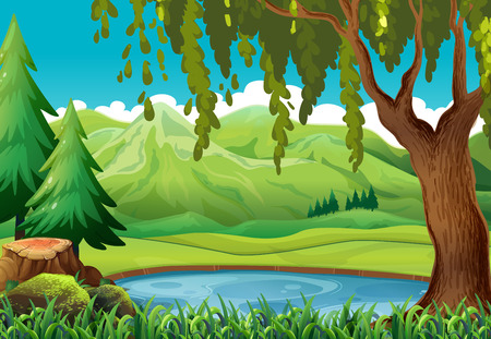 山と池のイラスト シーン  イラスト・ベクター素材