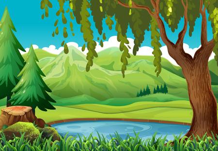Escena con montañas y estanque ilustración