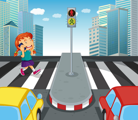 crossing street: Girl talking on the phone and crossing street illustration