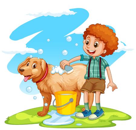 boy bath: Boy giving dog a bath illustration