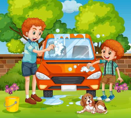 car garden: Father and son washing car in the backyard illustration
