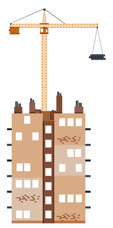 building construction: Construction building with crane illustration Illustration