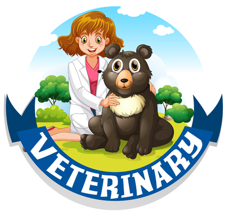 veterinary sign: Veterinary sign with vet and bear illustration