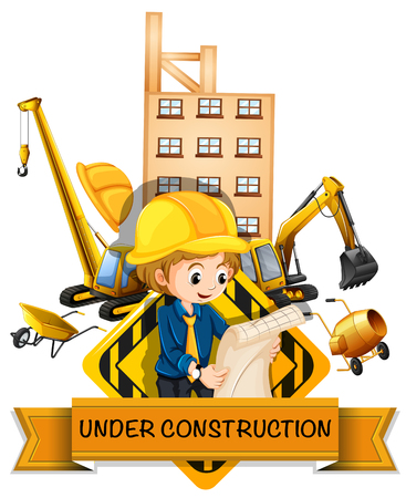 being: Engineer and building being under construction illustration