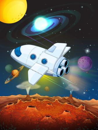 rocketship: Rocketship flying into the space illustration