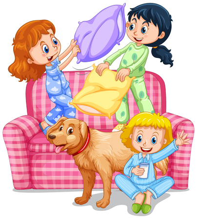 slumber: Three girls playing pillow fight at slumber party illustration