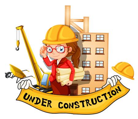 arquitecto: Ingeniero de sexo femenino y el signo bajo construcción ilustración