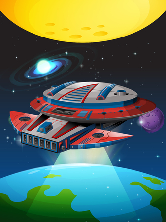 unidentified: Spaceship flying around the earth illustration Illustration