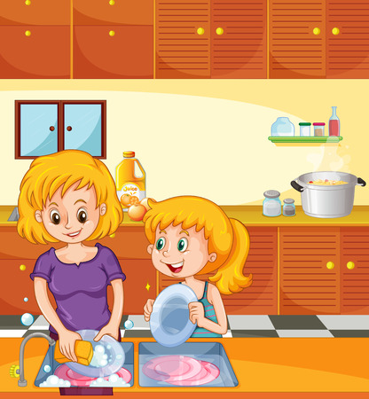 Girl helping mom doing dishes illustration Иллюстрация