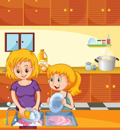 Girl helping mom doing dishes illustration Vettoriali