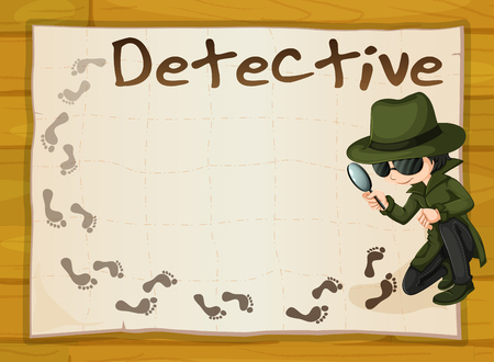 clues: Frame design with detective and footprints illustration Illustration