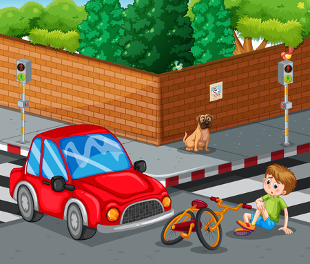 crossing street: Scene with car crashing bicycle and boy getting hurt illustration