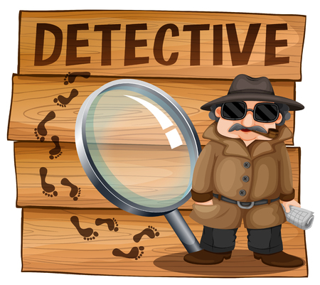 clues: Detective in brown overcoat illustration