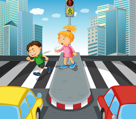 crossing the road: Boy and girl crossing the street illustration