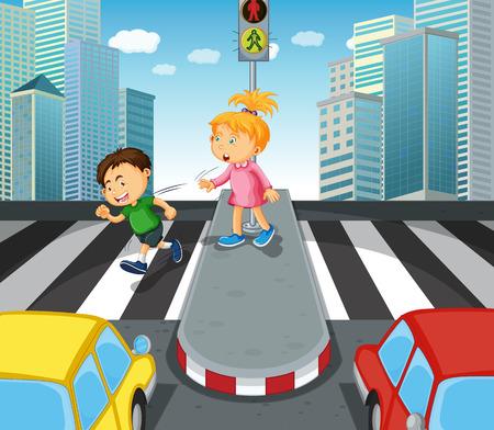 zebra crossing: Boy and girl crossing the street illustration