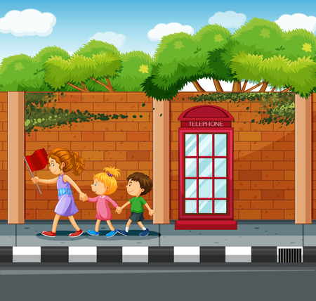 Adult helping kids to cross the street illustration