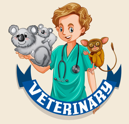 vet: Vet and wild animals with sign illustration