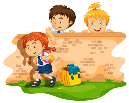 daytime: Children skipping school at daytime illustration