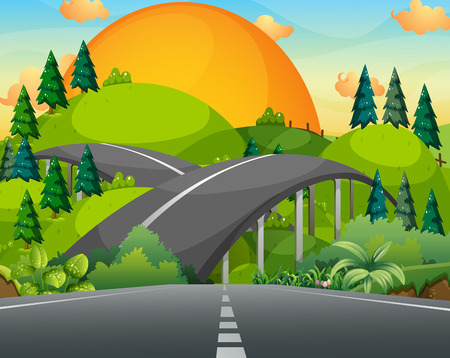 landscape road: Road and bridge over the mountains illustration