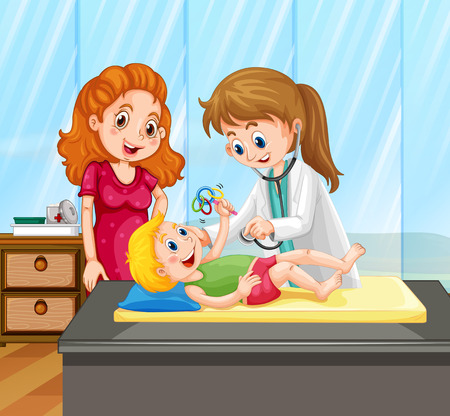 baby illustration: Female doctor give little boy treatment illustration