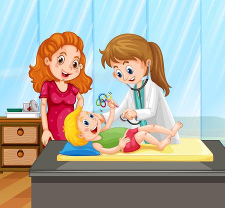 Female doctor give little boy treatment illustration Vector Illustration