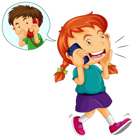 dessin enfants: Fille au garçon sur le téléphone portable illustration