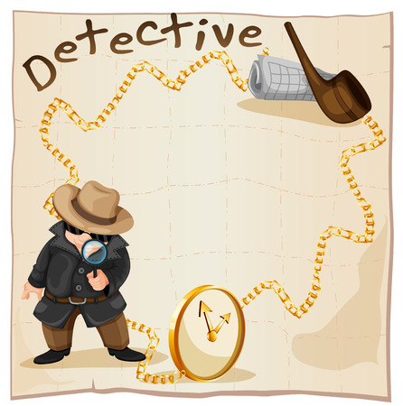 pipe smoking: Frame design with detective and smoking pipe illustration Illustration
