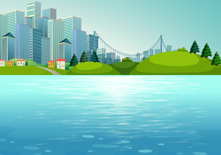 gree: Scene with buildings and river illustration Illustration