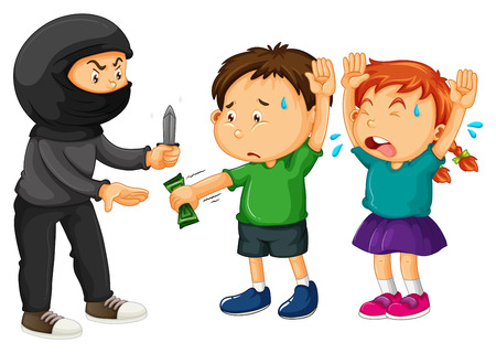 threatened: Robbery scene with thief and victims illustration