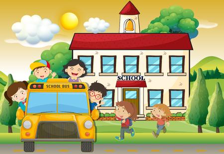 niños estudiando: Niños en autobús escolar a la escuela ilustración