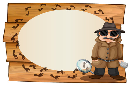 clues: Frame design with spy and footprinted illustration Illustration