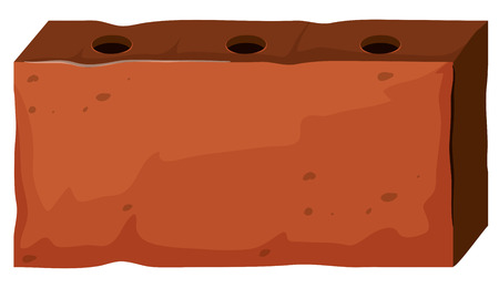 holes: Brick with three holes illustration Illustration