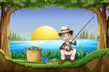 man fishing: Man fishing by the lake illustration Illustration