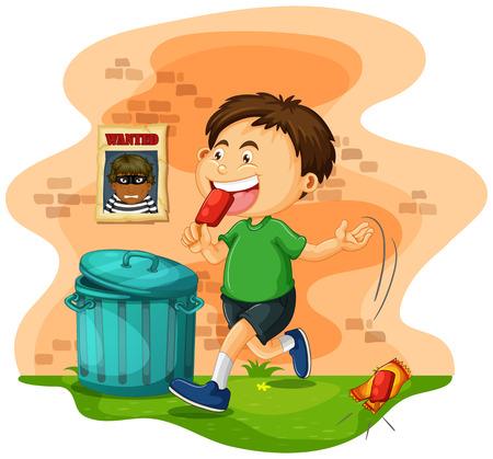 Boy throwing icecream bag on the ground illustration 矢量图像