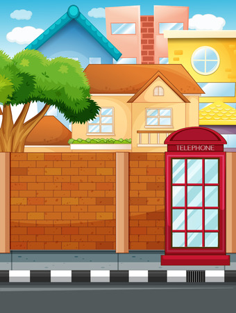 phonebooth: Scene with buildings and road illustration Illustration
