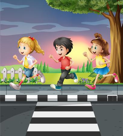 sidewalk: Three kids running along the road illustration