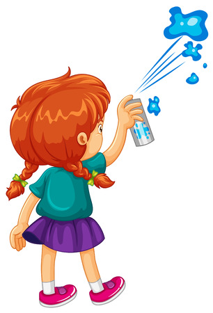 Girl spraying the wall blue illustration Illustration