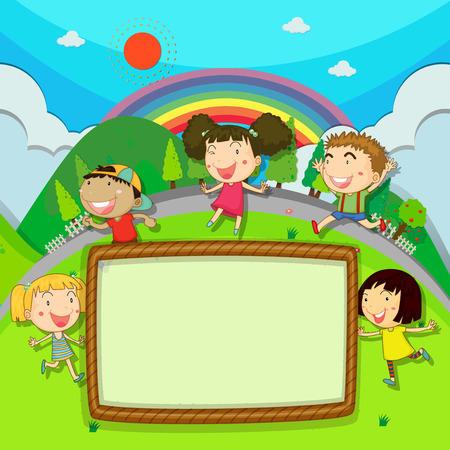 pictures: Frame design with children in the park illustration