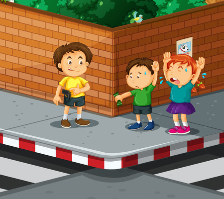 robbed: Children being robbed  by gangster illustration Illustration