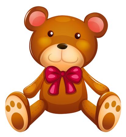 cute teddy bear: Cute teddy bear with red ribbon illustration Illustration