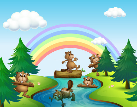 beavers: Beavers and logs by the river illustration Illustration