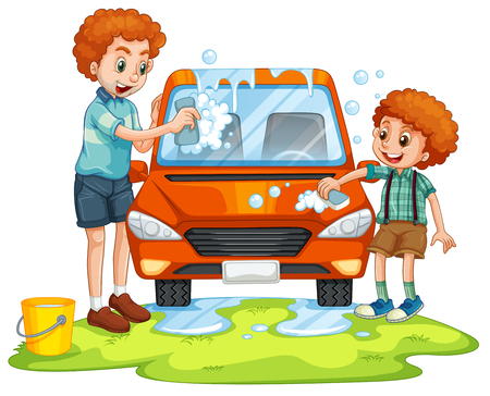 washing car: Father and son washing car illustration